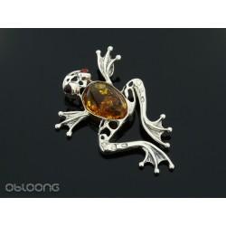 Wisiorek bb srebrna żaba z bursztynem koniakowym