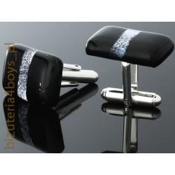 spinki mankiet murano -czarne z ozdobnym paskiem