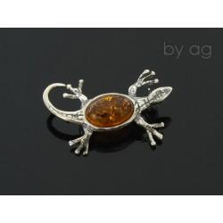 Broszka z bursztynem bałtyckim - jaszczurka