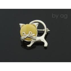 Broszka z bursztynem bałtyckim - kot