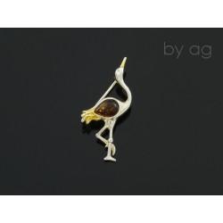 Broszka z bursztynem bałtyckim - żuraw
