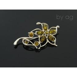 Broszka z bursztynem bałtyckim -  duży kwiat ażur