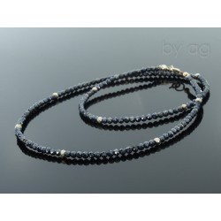 Naszyjnik - spinele - czarne i labradoryt  -  0,3 cm
