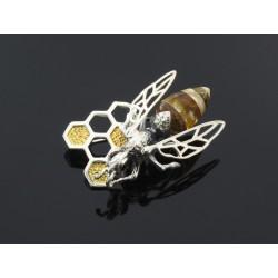 Broszka bb srebrna pszczoła z bursztynem