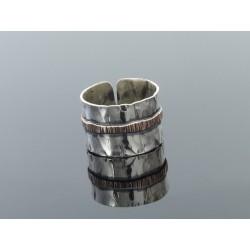 Obrączka srebrna ba z paskiem miedzi1