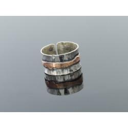 Obrączka srebrna ba z paskiem miedzi2
