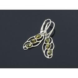 Kolczyki z bursztynem - ażur - zielone